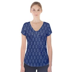 Anchor Pattern Short Sleeve Front Detail Top