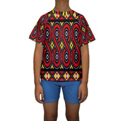Toraja Traditional Art Pattern Kids  Short Sleeve Swimwear