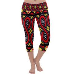 Toraja Traditional Art Pattern Capri Yoga Leggings