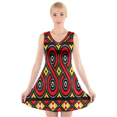 Toraja Traditional Art Pattern V Neck Sleeveless Skater Dress
