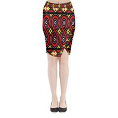 Toraja Traditional Art Pattern Midi Wrap Pencil Skirt