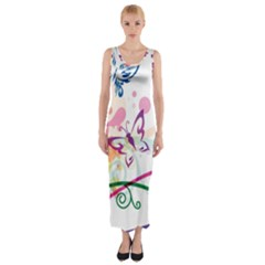 Butterfly Vector Art Fitted Maxi Dress