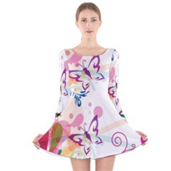 Butterfly Vector Art Long Sleeve Velvet Skater Dress