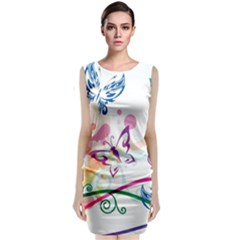 Butterfly Vector Art Sleeveless Velvet Midi Dress