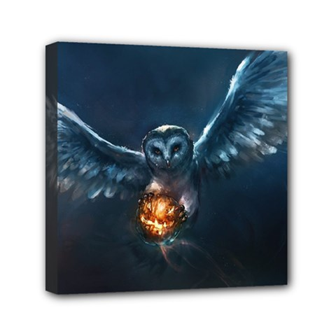 Owl And Fire Ball Mini Canvas 6  X 6