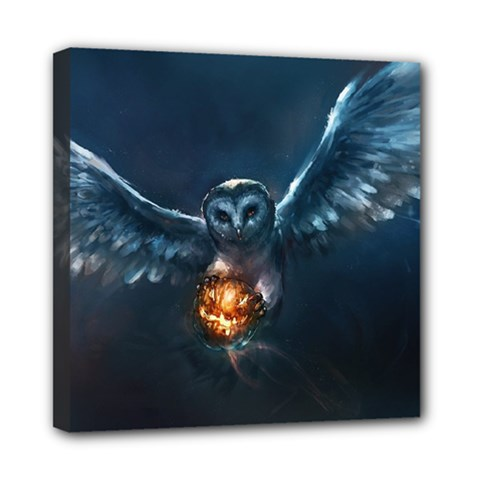 Owl And Fire Ball Mini Canvas 8  X 8