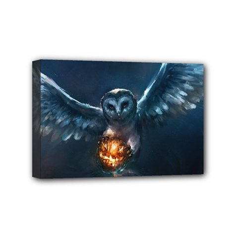 Owl And Fire Ball Mini Canvas 6  X 4