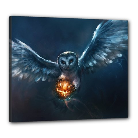 Owl And Fire Ball Canvas 24  X 20