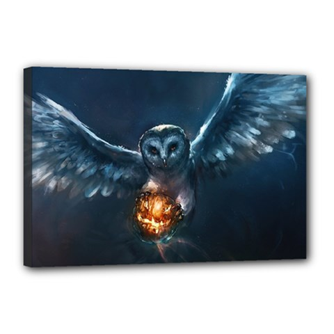 Owl And Fire Ball Canvas 18  X 12