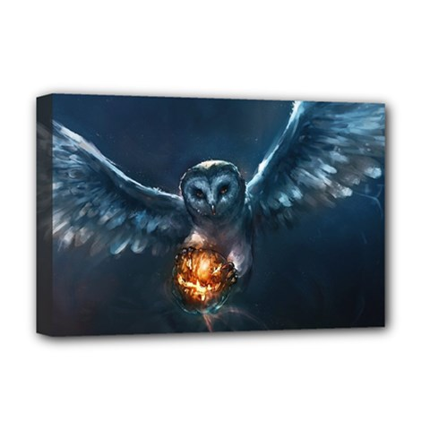 Owl And Fire Ball Deluxe Canvas 18  X 12
