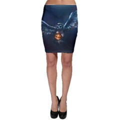 Owl And Fire Ball Bodycon Skirt