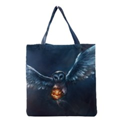 Owl And Fire Ball Grocery Tote Bag