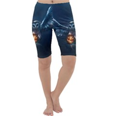 Owl And Fire Ball Cropped Leggings