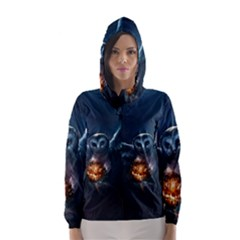 Owl And Fire Ball Hooded Wind Breaker (women)