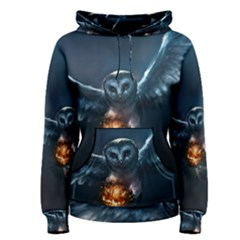 Owl And Fire Ball Women s Pullover Hoodie