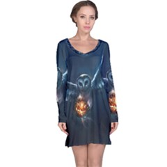 Owl And Fire Ball Long Sleeve Nightdress