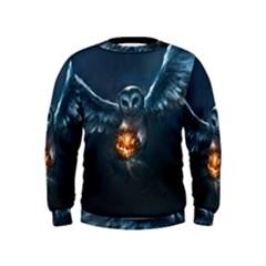 Owl And Fire Ball Kids  Sweatshirt