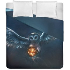 Owl And Fire Ball Duvet Cover Double Side (california King Size)