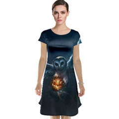 Owl And Fire Ball Cap Sleeve Nightdress