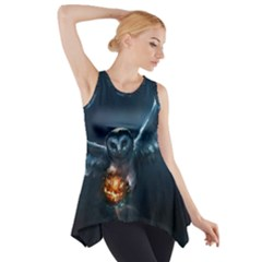 Owl And Fire Ball Side Drop Tank Tunic