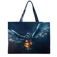 Owl And Fire Ball Large Tote Bag