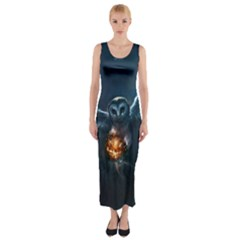 Owl And Fire Ball Fitted Maxi Dress