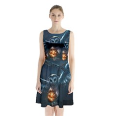 Owl And Fire Ball Sleeveless Chiffon Waist Tie Dress