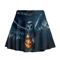 Owl And Fire Ball Mini Flare Skirt
