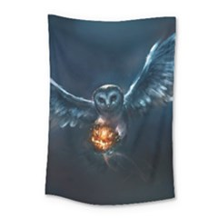 Owl And Fire Ball Small Tapestry