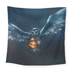 Owl And Fire Ball Square Tapestry (large)