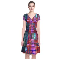 City Photography And Art Short Sleeve Front Wrap Dress