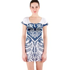 Owl Short Sleeve Bodycon Dress