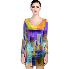 New York City The Statue Of Liberty Long Sleeve Bodycon Dress