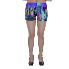 New York City The Statue Of Liberty Skinny Shorts
