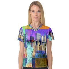 New York City The Statue Of Liberty Women s V Neck Sport Mesh Tee