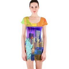 New York City The Statue Of Liberty Short Sleeve Bodycon Dress