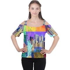 New York City The Statue Of Liberty Women s Cutout Shoulder Tee