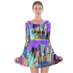 New York City The Statue Of Liberty Long Sleeve Skater Dress