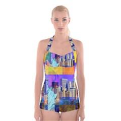 New York City The Statue Of Liberty Boyleg Halter Swimsuit