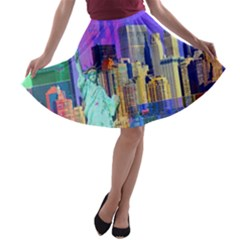 New York City The Statue Of Liberty A-line Skater Skirt