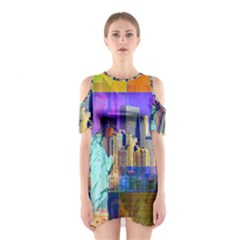 New York City The Statue Of Liberty Shoulder Cutout One Piece