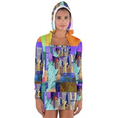 New York City The Statue Of Liberty Women s Long Sleeve Hooded T Shirt