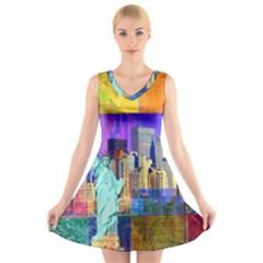 New York City The Statue Of Liberty V Neck Sleeveless Skater Dress