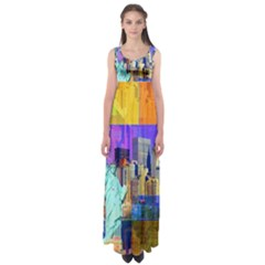 New York City The Statue Of Liberty Empire Waist Maxi Dress