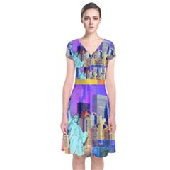 New York City The Statue Of Liberty Short Sleeve Front Wrap Dress