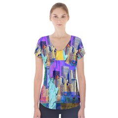 New York City The Statue Of Liberty Short Sleeve Front Detail Top