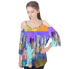 New York City The Statue Of Liberty Flutter Tees