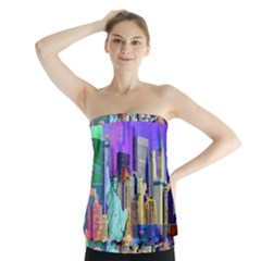 New York City The Statue Of Liberty Strapless Top