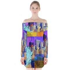 New York City The Statue Of Liberty Long Sleeve Off Shoulder Dress