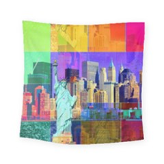 New York City The Statue Of Liberty Square Tapestry (small)